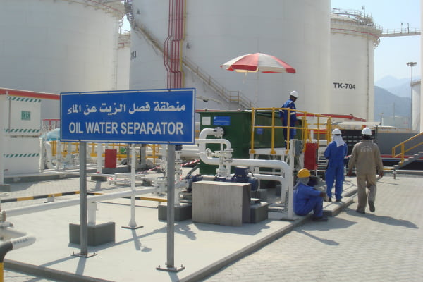 Group of engineer working at the wastewater treatment